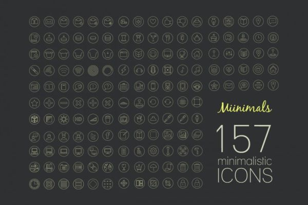 157 free minimalistic icons