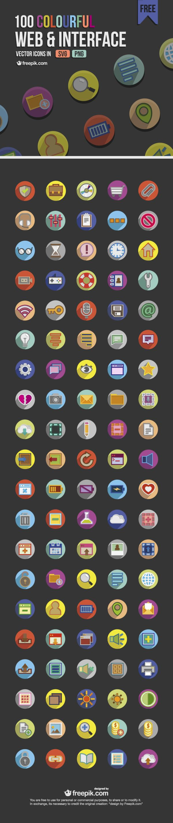 100 FREE COLORFUL WEB AND INTERFACE ICONS