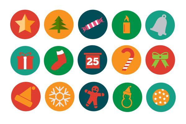 15 free flat Christmas icons