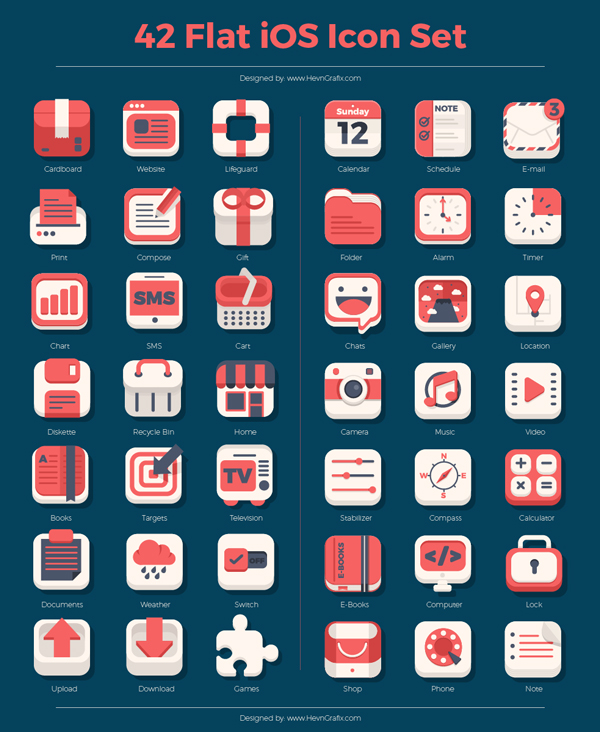 42 Flat iOS Icon Set
