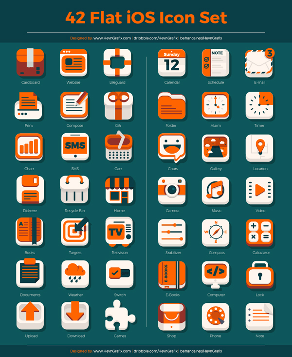42 Flat iOS Icon Set1