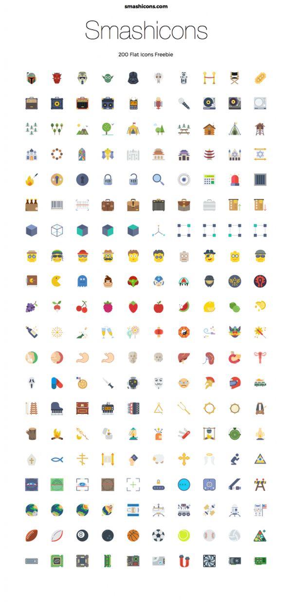 Smashicons-200 Free Flat Icons