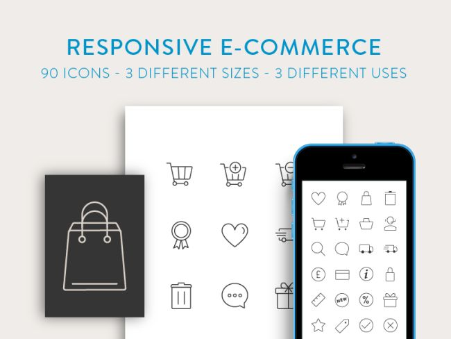 Free Responsive E-Commerce Icons