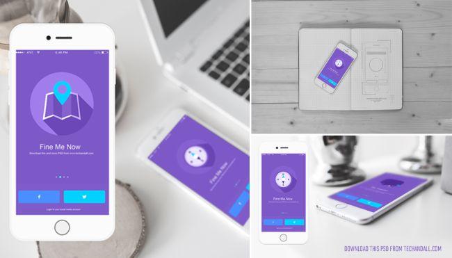 Free iOS App Showcase Mockup PSD