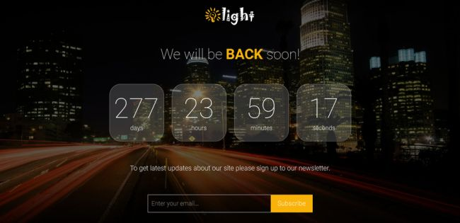 Light-Free HTML5 Coming Soon Template