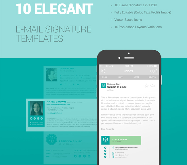 10 free email signature templates html css web design for Free email signature template