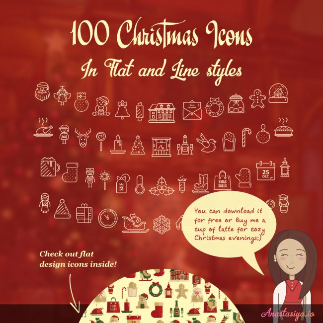 100 Free Christmas Icons in Flat and Line Styles
