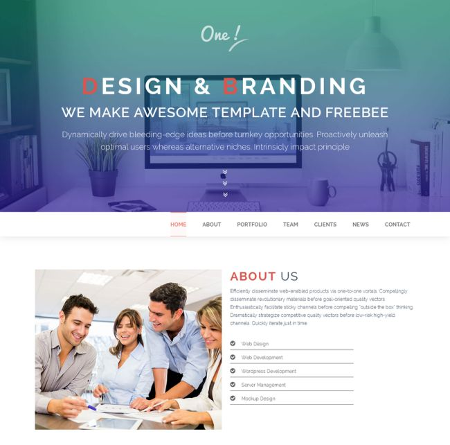 ONE – Free One Page HTML Template