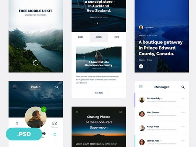 Ventas - Free Mobile UI kit for travel magazines