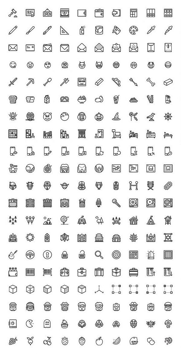 A free set of 200 misc icons