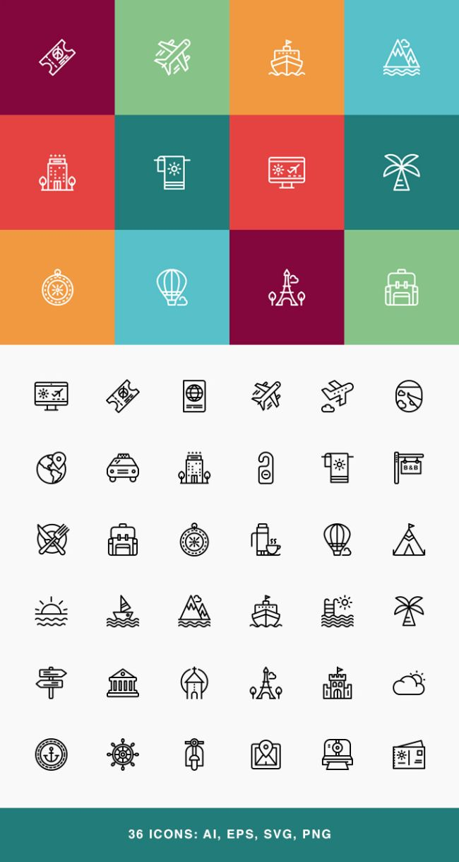 Free Travel & Vacation Icon Set