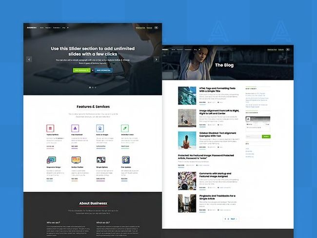 Businessx is a free one page WordPress theme.
